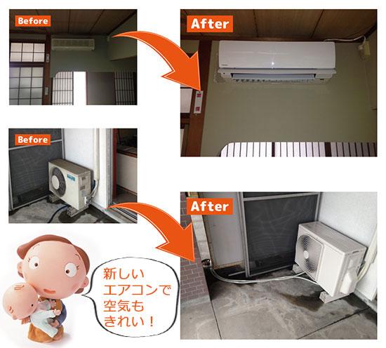 エアコン取替工事(家庭用・壁掛けタイプ)